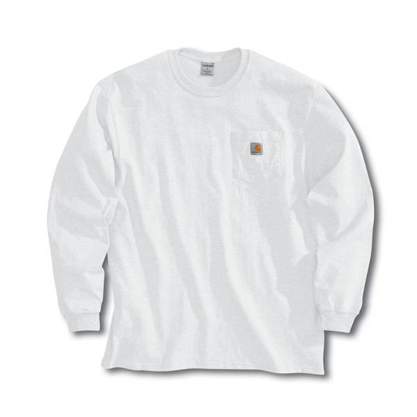 Carhartt big tall men 39 s white long sleeve workwear for Carhartt long sleeve t shirts white
