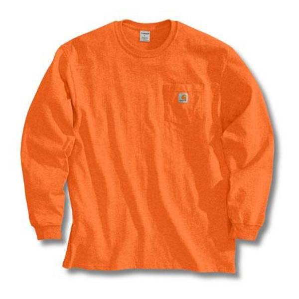 Big Men's Orange Long Sleeve Workwear Pocket T-Shirt