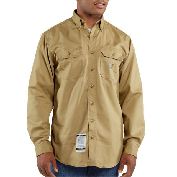 Tall Men's Khaki Flame-Resistant Twill Shirt