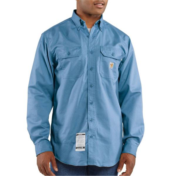 Men's Medium Blue Flame-Resistant Twill Shirt
