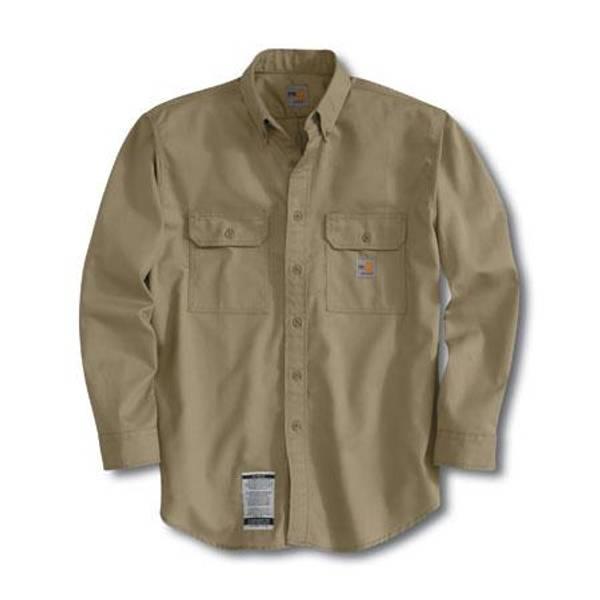 Big & Tall Men's Khaki Flame-Resistant Twill Shirt with Pocket Flap