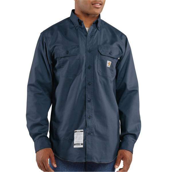 Big Men's Dark Navy Flame-Resistant Twill Shirt
