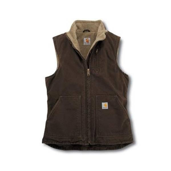 Women's Dark Brown Sherpa-Lined Sandstone Mock-Neck Vest