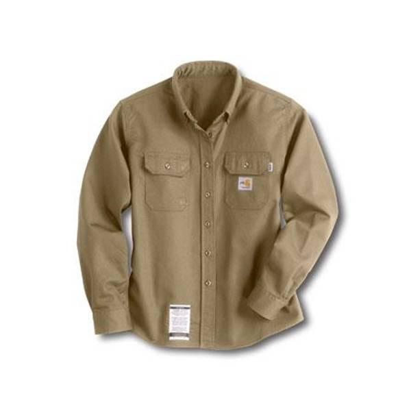 0f7382e459e4 Carhartt Misses Khaki Flame-Resistant Twill Shirt khaki