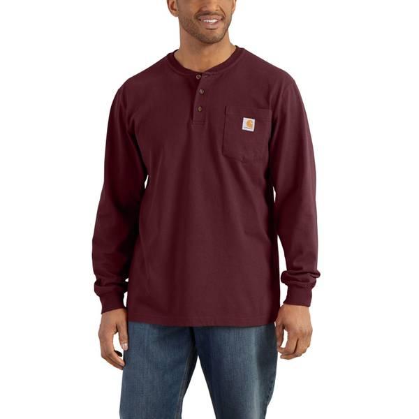 Men's Port Red Long Sleeve Workwear Henley