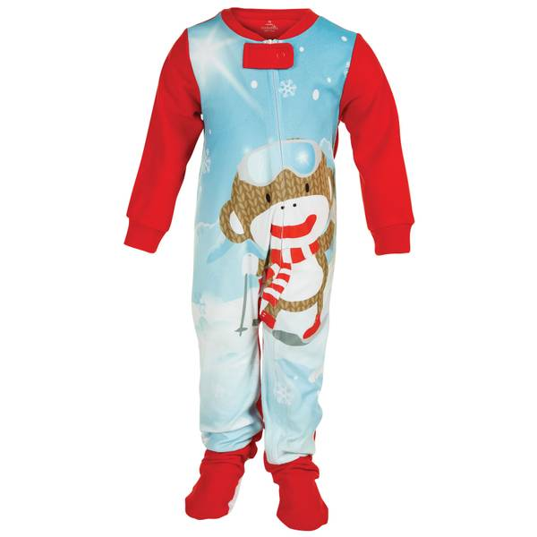 Baby Girls' 1-Piece Skating Sock Monkey Pajamas
