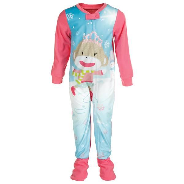Baby Girls' 1-Piece Skating Sock Monkey Pajamas