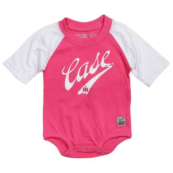 Baby Girls'  & White 6M-24M Case IH Raglan Bodysuit