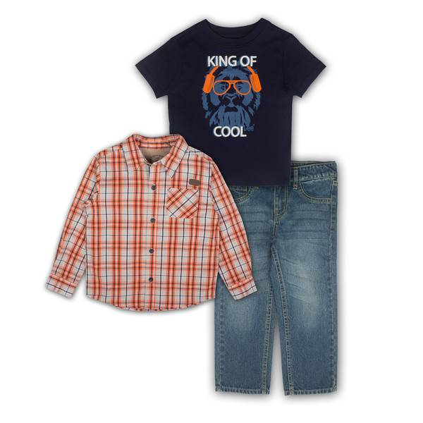 Baby Boys' Orange & Blue Shirts & Jeans Set