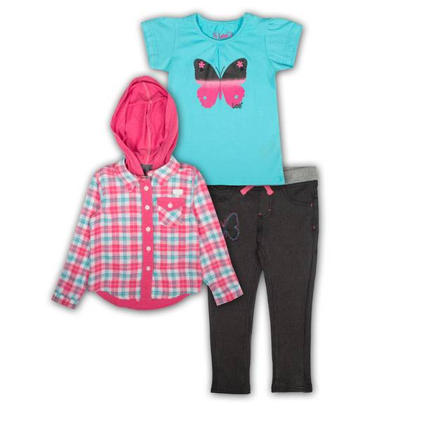 Baby Girls' Blue & Pink Shirts & Jeans Set