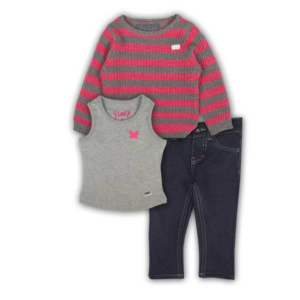 Baby Girls' Hoodie, Vest, & Pant Set