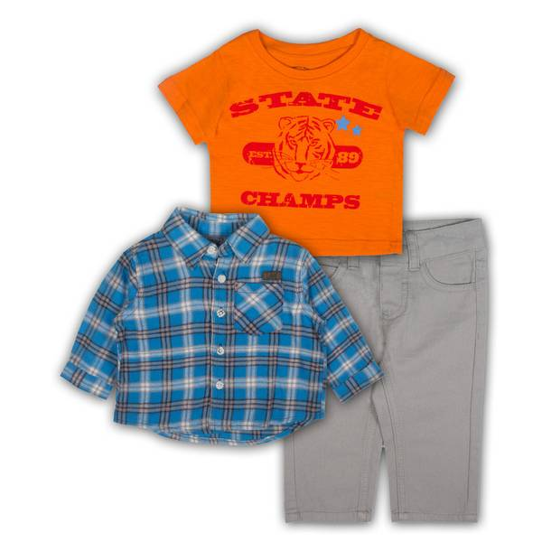 Baby Boys' Blue & Orange Shirts & Jeans Set