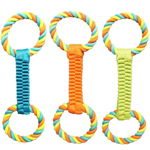 Braided Nylon Rope Tug Dog Toy Assortment