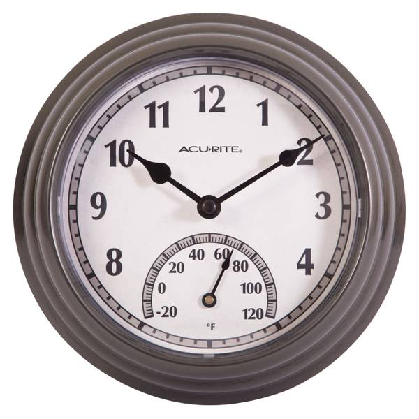 Gunmetal Outdoor Clock with Thermometer