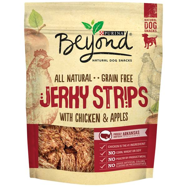 Beyond Grain Free Jerky Strip Dog Treats with Chicken & Apples