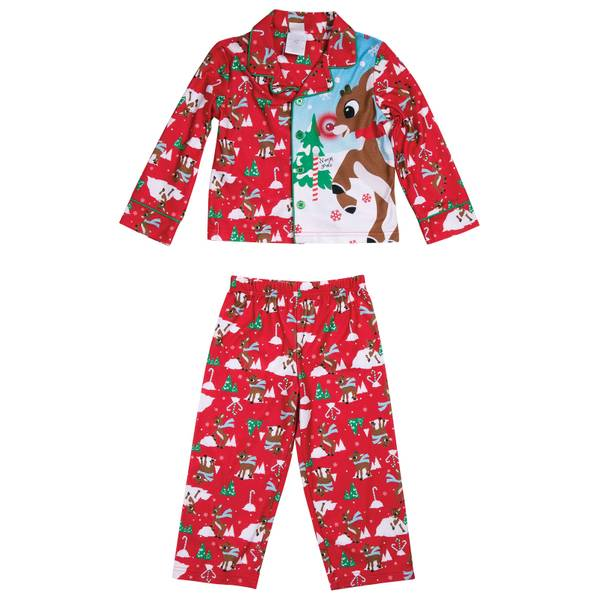 Boys' 2-Piece Rudolph the Red Nose Reindeer Flannel Pajamas