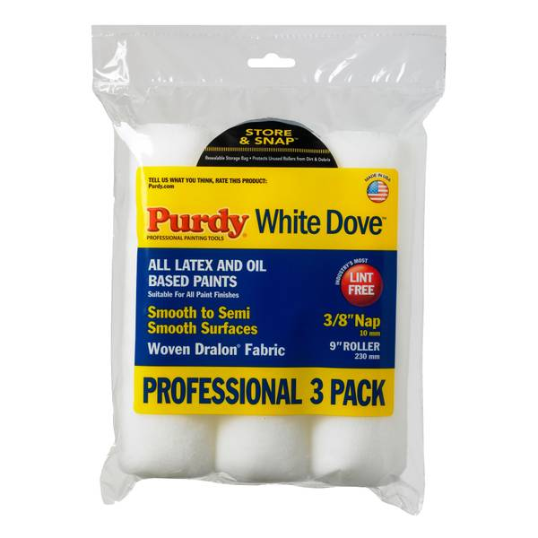 "9"" x 3/8"" White Dove Roller 3-Pack"