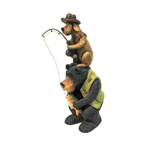 Fishing Buddies Bear & Dog Statue