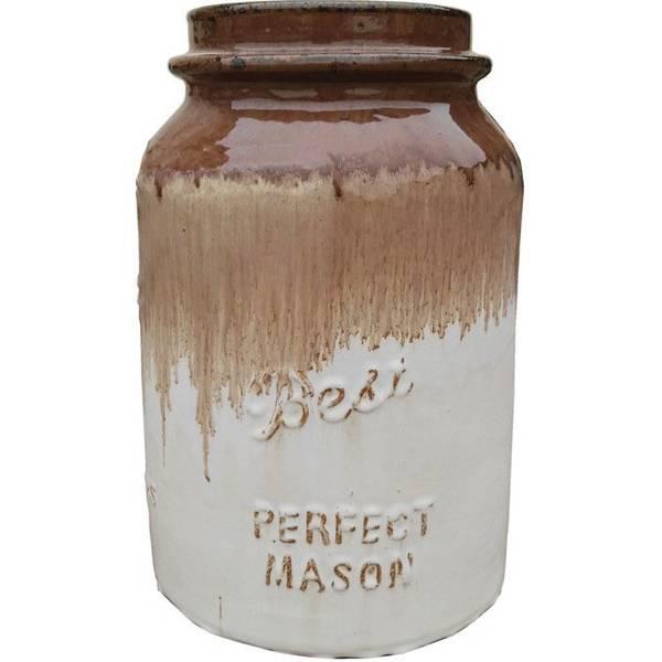 Pastel Brown & Antique Cream Mason Jar