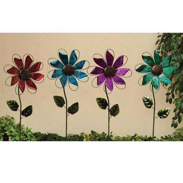"40"" Metal Flower Wind Spin Yard Stake Assortment"