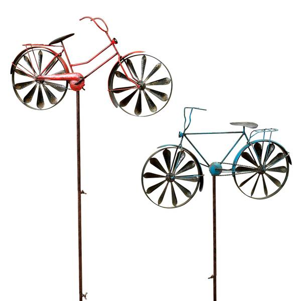 """63"""" Antique Bicycle Wind Spin Yard Stake Assortment"""