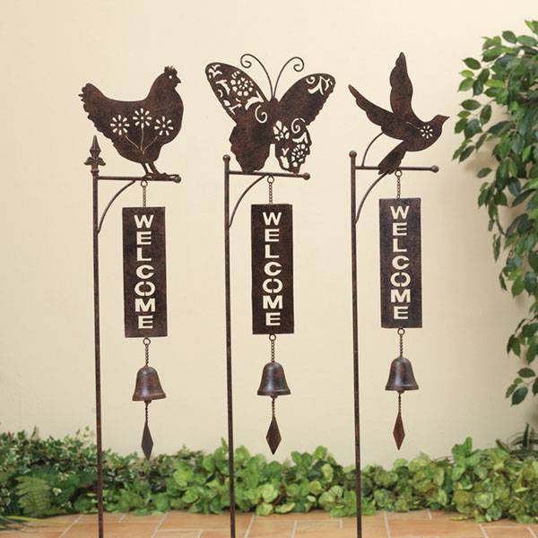 "46"" Garden Welcome Yard Stake with Bell Assortment"