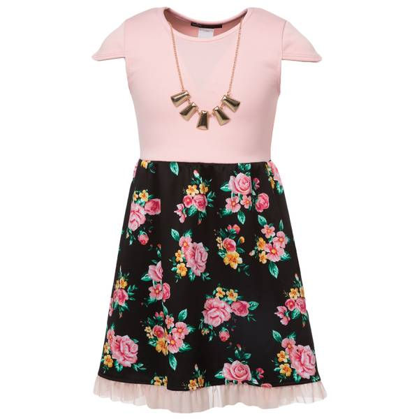Big Girls' Skater Dress with Necklace