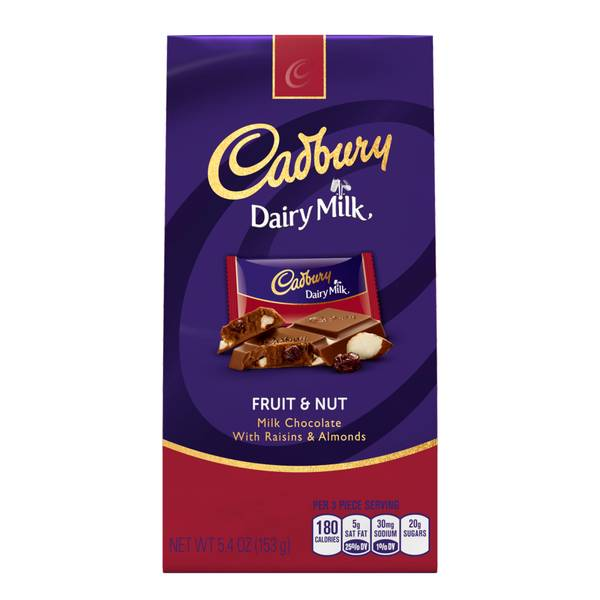 CADBURY DAIRY MILK Fruit & Nut Milk Chocolate with Raisins ...