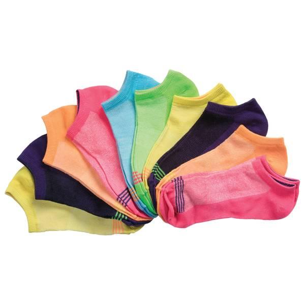 Misses Low Cut Striped Socks - 10 Pack