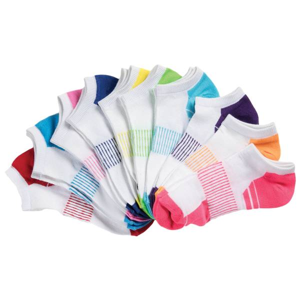 Women's Low Cut Block Basic Socks - 10 Pack