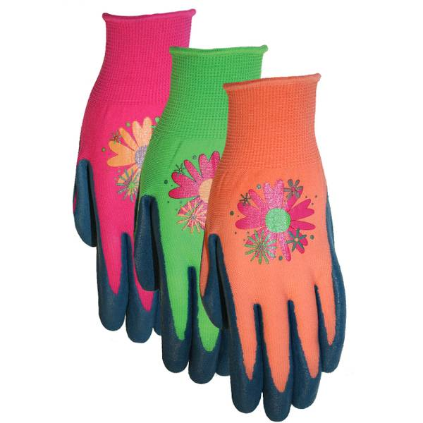 Ladies Stretchy Textured Rubber Coated Garden Gloves