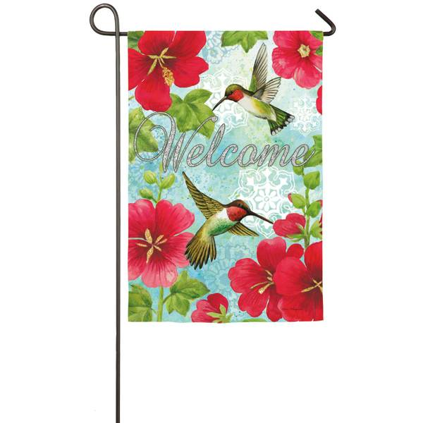 Hummingbird Trio Suede Garden Flag