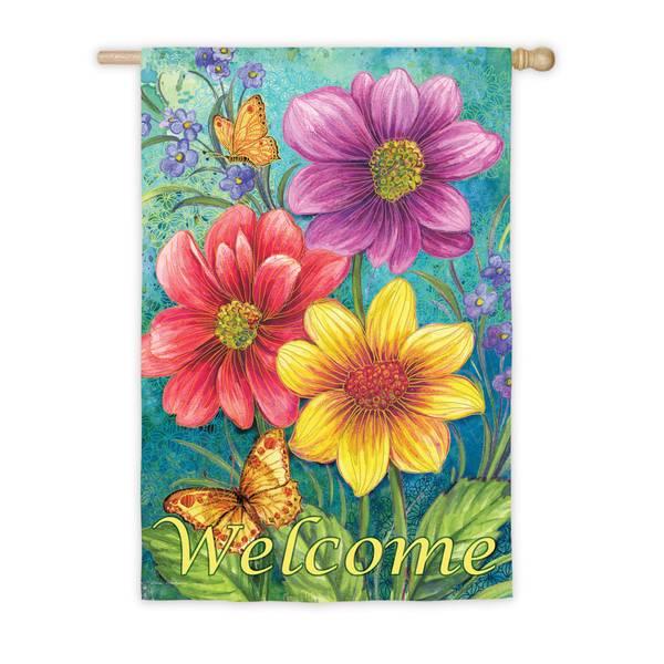 Floral Flowers Vertical Flag