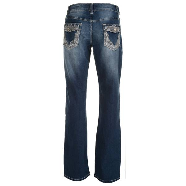 Misses Flap Edge Embroidery Jeans
