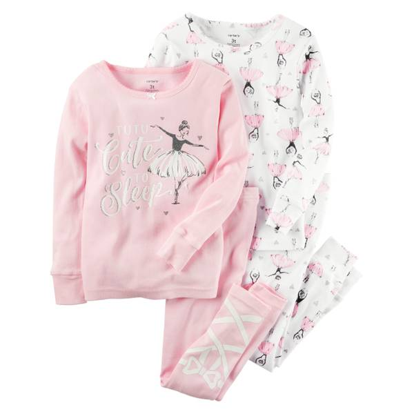 Baby Girl's Pink & White 4-Piece Ballerina Snug Fit Pajamas