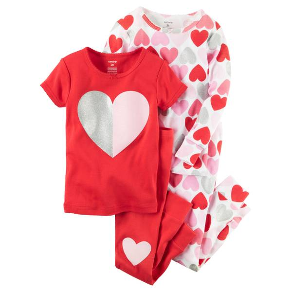 Baby Girl's Multi-Colored 4-Piece Hearts Snug Fit Pajamas