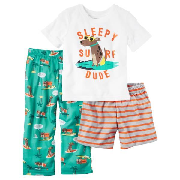 Boys' 3-piece Cotton & Jersey Pajamas