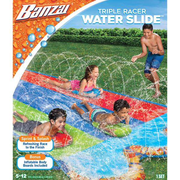 16' Triple Racer Water Slide with 3 Bodyboards
