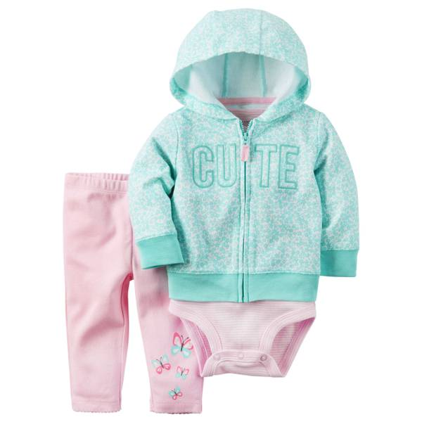 Infant Girl's Pink & Gray 3-Piece Little Jacket Set