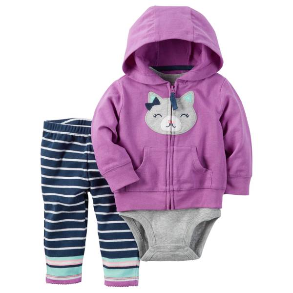 Baby Girl's Pink & Gray 3-Piece Little Jacket Set