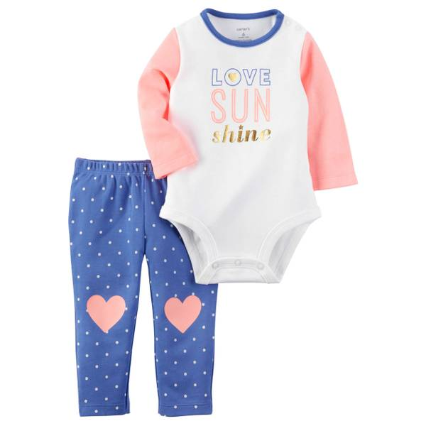 Infant Girl's Pink & Blue 2-Piece Polka Dotted Bodysuit & Pants Set