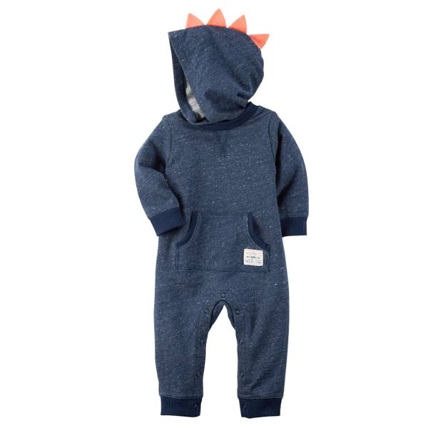 Baby Boy's Blue Hooded French Terry Jumpsuit