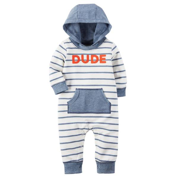 Infant Boy's Blue Hooded French Terry Jumpsuit