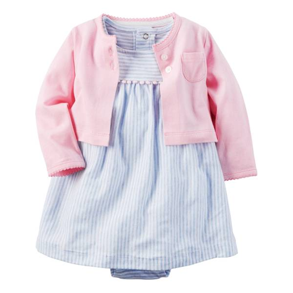 Infant Girl's Blue & Pink 2-Piece Dress & Cardigan Set