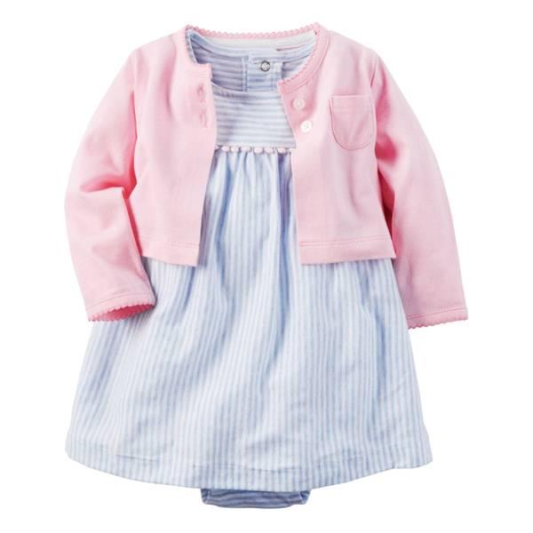 Baby Girl's Pink & Gray 2-Piece Dress & Cardigan Set