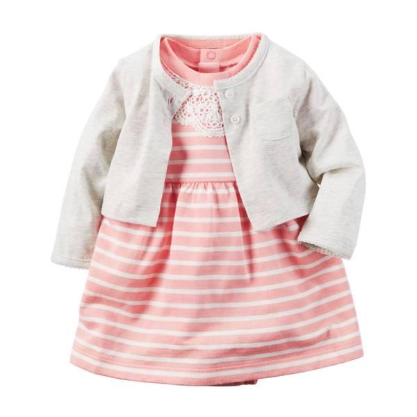 Infant Girl's Blue & Pink 2-Piece Dress & Cardigan Set