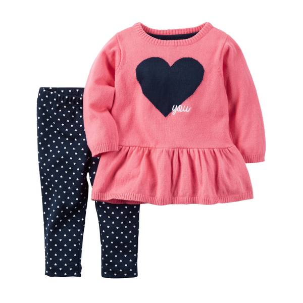Baby Girls' 2-piece Peplum Sweater & Pant Set