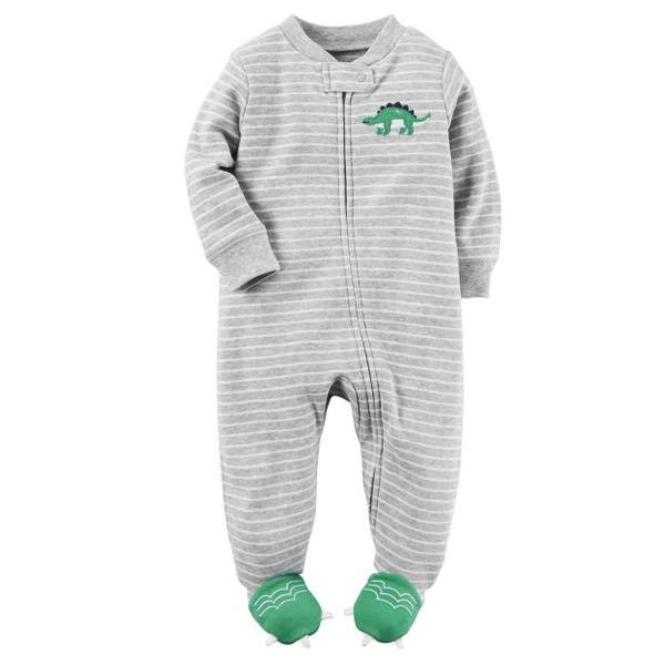 Baby Boy's Red Striped Monkey Sleep & Play Pajamas