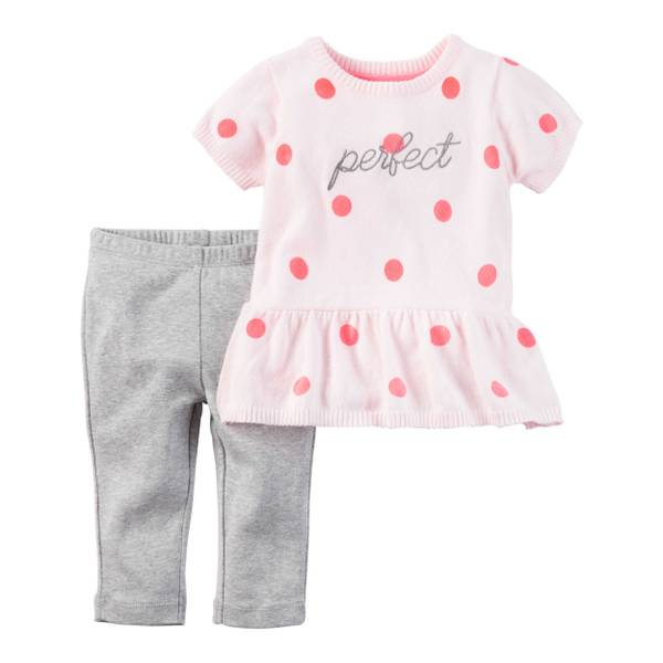 Baby Girls' 2-piece Short Sleeve Peplum Sweater & Pant Set