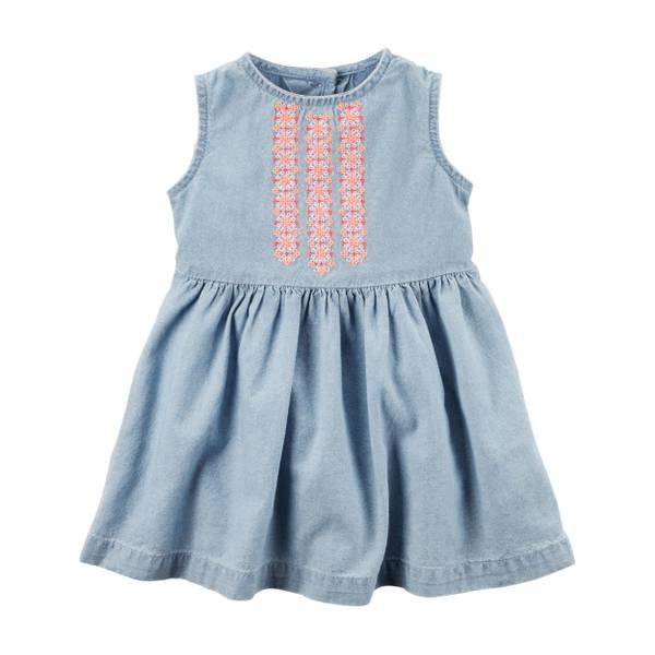 Baby Girls' Embroidered Yoke Dress